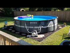 In this video you will see our Intex XTR 18 ft pool being set up last summer. We have included direct shopping links for the pool and pool accessories that y. Intex Above Ground Pools, Above Ground Pool Pumps, Best Above Ground Pool, Above Ground Pool Landscaping, Swimming Pool Landscaping, Above Ground Swimming Pools, In Ground Pools, Rectangle Above Ground Pool, Installing Above Ground Pool