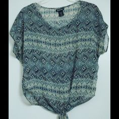 KANDY KISS Taupe Blue Aztec Casual Tie-bottom Top Brand: Kandy Kiss.  Size: X-Small.  Color: Taupe/Blue.  Measurements: Bust- 33 inches Waist- 25 inches.  Material: 100% Polyester.   LAST ONE Kandy kiss Tops Blouses