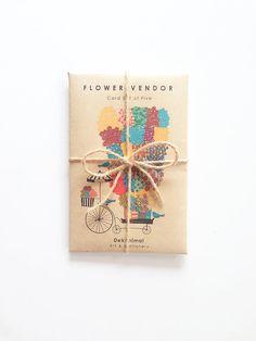 Flower Vendor  Greeting Card SET - Holiday Cards - Greeting Card Set - - Christmas - Anniversary - Graduation Kraft Envelope by dekanimal, $13.00