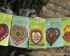 Heart Valentine Love prayer flags / garden flags  - 13 small prayer flags, printed on organic cotton