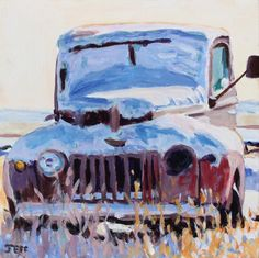 Acrylic, 10x10 inches, 2020  This particular truck is sitting at ease in downtown Robsart, Saskatchewan, a prairie picturesque ghost-town just off the Red Coat Trail.  Still can't work out the year year & make, despite some online research; happy to hear any suggestions.... Ghost Towns, Trail, Wolf, Happy, Red, Painting, Painting Art, Wolves, Ser Feliz