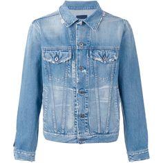 Simon Miller Distressed Denim Jacket (5 380 ZAR) ❤ liked on Polyvore featuring men's fashion, men's clothing, men's outerwear, men's jackets, mens distressed leather jacket and mens distressed denim jacket