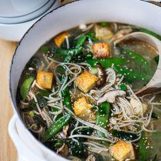 Sesame Soba Noodle Soup with Shiitakes, Snap peas and Tofu   www.feastingathome.com