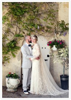 Lisa Redman custom lace dress and custom tailored suit Vintage Style Wedding Dresses, Classic Wedding Dress, Gorgeous Wedding Dress, Dream Wedding Dresses, Plan My Wedding, Wedding Planning, Wedding Stuff, Wedding Dress Sleeves, Lace Dress