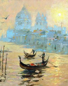 "Evening in Venice - Palette Knife Oil Painting on Canvas by Dmitry Spiros. Size: 20""x28"", (50x70 cm)"