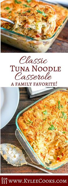 This old time classic tuna noodle casserole will bring you right back to childhood. Budget friendly and easy! #weeknightwinner #classic #recipe #kyleecooks #dinner #tuna