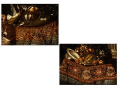 """Francesco Noletti, genannt  """"il Maltese"""",   um 1611 Valletta, Malta – 1654 Rom, Umkreis  Gemäldepaar JAGDSTILLLEBEN und FRÜCHTESTILLLEBEN Öl auf Leinwand. Doubliert. 76 x 105 cm. Jeweils auf einem Tisch mit Teppichbelag prangt ein üppiges..."""