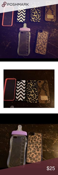 iPhone 5s cases I am wanting to sell all the cases together instead of separating them. I have a Michael Kors snakeskin case. Two cheetah cases, one chevron design case, and a purple baby bottle case and a pink clear case. Michael Kors Accessories Phone Cases