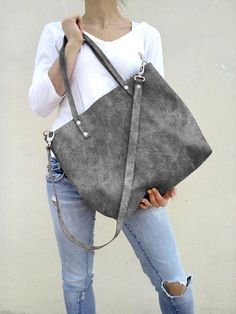 Leather bag/ Leather tote bag/ Women tote bag/ Grey distressed