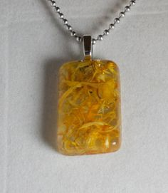 Calendula Marigold Petals in Resin Pendant with yellow by GreyGyrl, $13.00