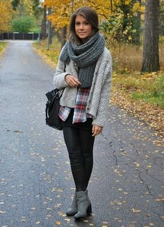Fall outfit. I'd wear tope knee high boots with this though... Love flannels and over sized sweater cardis