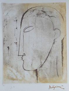 """Amedeo Modigliani (1884-1920) Gravure réalisée par les éditions """"Il Cigno"""" sous la direction des Archives Légales Amedeo Modigliani Tampon de la signature """"Modigliani"""" - Monograme à l'encre Galerie Roussard (Monmartre), Paris, France"""
