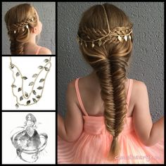Two four strand braids and a messy fishtailbraid with a beautiful hair chain from the webshop www.goudhaartje.nl