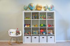 10 Genius Toy Storage Ideas square book case with storage at bottom