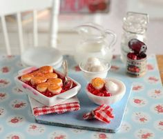 RESERVEDMiniature Cherry Cobbler Set by CuteinMiniature on Etsy, $28.50