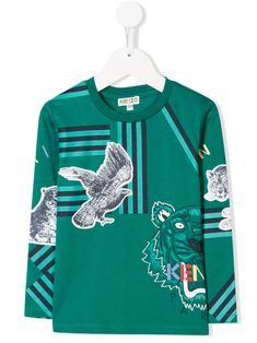 Kenzo Kids Animal Friends T-shirt - Green World Of Fashion, Kids Fashion, Fashion Design, Tiger Logo, Kenzo Kids, Green Cotton, Animals For Kids, Sweater Outfits, Graphic Sweatshirt