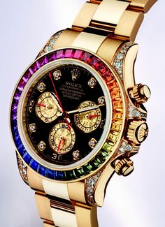 Rolex goes with all the colors of the rainbow on this stunning Solid Gold Daytona