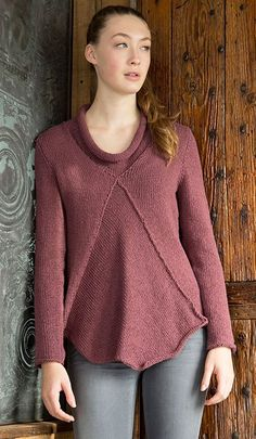 Free Knitting Pattern Anhinga Pullover Sweater - Norah Gaughan's long-sleeved pullover sweater for Berroco features a swingy, bias-knit front panel and a casual rolled collar. Bust – 31(35-39-43-47-51)""