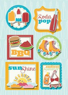 Imaginisce - Endless Summer Collection - Sticker Stacker - 3 Dimensional Stickers with Glossy Accents - BBQ at Scrapbook.com