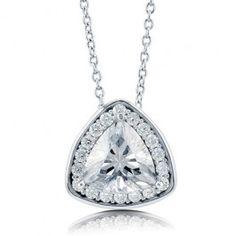 Trillion Cut Cubic Zirconia CZ Sterling Silver Halo Pendant Necklace  $51.99