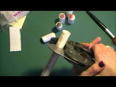 """DIY Sponge Daubers 1/2"""" PVC pipe, pipe cutters, and triangular makeup sponges.  Can wrap with paper labeled with the color or use DSP and then scotch tape around outside to seal it on and keep it clean."""