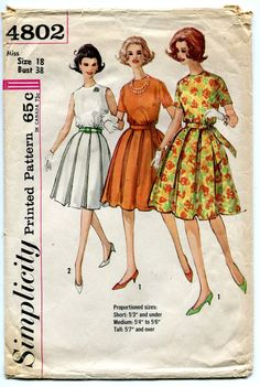 1960s Box Pleat Skirt Dress Pattern Blouson by PrettyPatternShop. I love this style it was like Moms fav, endearing memories.