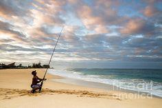 Surf fisherman at sunrise by Daryl L Hunter Hawaii Landscape, Kauai, Sunrise, Surfing, Wall Art, Beach, Water, Outdoor, Gripe Water