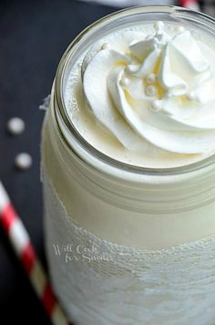 Delicious White Wedding Cake Milkshake, tastes just like an ice cream cake!