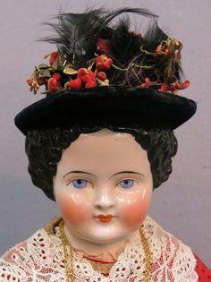 "RARE Wooden Limbs 1800's Antique Flat Top China Head German Doll 24"" | eBay"