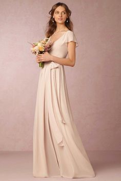 2019 Bridesmaid Dresses Cheap A-Line V-Neck Short Sleeve Split Chiffon Nude Pink Maid Honor Special Occasion Dresses For Wedding Cheap Bridesmaid Dresses Uk, Rental Wedding Dresses, Mismatched Bridesmaid Dresses, Bridesmaid Dress Colors, Blush Dresses, Bride Dresses, Bridesmaids, Elegant Wedding Dress, Perfect Wedding Dress