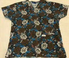 d9873fd608e Crest Scrubs Black with Multi Color Flowers #Crest Multi Colored Flowers,  Crests, Button