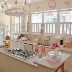 All that pink would make me crazy, but I love love the bead board & the shutters and all that wonderful white!