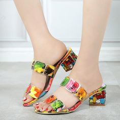2019 New Summer Women Multi Colors Sandals Fashion High Heels Open Toe Beach Flip Flops Ladies Crystal Heels Shoes Woman Multi Coloured High Heels, Rhinestone Heels, Beach Flip Flops, Colorful Shoes, Women's Summer Fashion, Open Toe, Slippers, Pumps, Summer Sandals