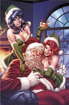 Grim Fairy Tales 2010 Holiday Special, Illustrations by Mike Debalfo Naughty Santa, Bad Santa, Santa Baby, Grim Fairy Tales, Science Fiction, Aspen Comics, Merry Christmas, Cosplay, Sexy Cartoons