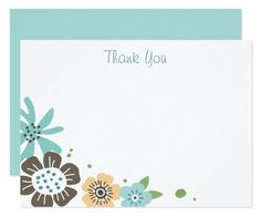 "Thank you card with brown and blue flowers. Flat note card with a floral corner and cutomizable text ""thank you"". Can be changed to a name or other short text."