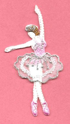 Layered Iron on White Ballerina Ballet Dancer Applique Patch