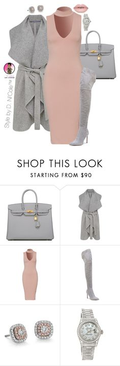 """Untitled #3295"" by stylebydnicole ❤ liked on Polyvore featuring Hermès, French Connection, Sam Edelman, Blue Nile and Rolex"