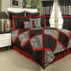 Sherry Kline True Safari Black Bedding Collection Update your bedroom with a new elegant, luxurious, animal print and high quality bedding collection. Bedding Master Bedroom, Duvet Bedding, Comforter Sets, Bedroom Decor, Master Bedrooms, Zebra Bedding, Fancy Bedroom, Bedding Decor, Bedroom Stuff