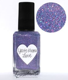 Lynnderella Limited Edition—Yes to Know Love has periwinkle microglitter with a holographic accent and pink-shimmered clear base.