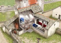 Reconstruction of a bathhouse at Housesteads Roman Fort on Hadrian's Wall