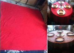 "59"" Red Cotton? Fabric Square Tablecloth USA Patriotic Valentine Christmas Decor #UnbrandedVINTAGE"