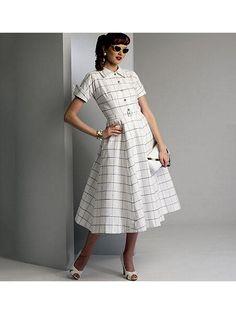 Vogue Patterns Sewing Pattern Misses' Button-Up Shirtdresses and Belt Skirt Patterns Sewing, Vogue Sewing Patterns, Vintage Sewing Patterns, Dress Sewing, Vintage Fashion 1950s, Vintage Vogue, Vintage Ladies, Vintage Glamour, Shirt Dress Pattern