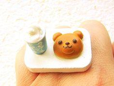 Kawaii Food Ring Milkshake Bear Bread Miniature by SouZouCreations, $12.50
