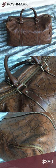 Authentic Gucci Guccissima Joy Boston Authentic Medium Soft Leather Joy Boston Guccissima Handbag •Brown  •Scuffing on edges  •No dustbag Gucci Bags