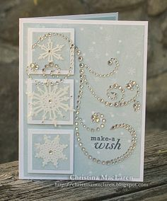 SeaGlass Papercrafts: Sweet Sunday Sketch this for the holiday cards Scrapbooking, Scrapbook Cards, Inchies, Holiday Cards, Christmas Cards, Snowflake Cards, Snowflakes, Beautiful Handmade Cards, Card Making Inspiration