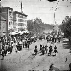Artillery unit passing on Pennsylvania Avenue near the Treasury, Washington, D.C. May 1865. - Shorpy