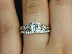 Cassidy 14kt White Gold Round Diamond Celtic Knot Wedding Set (Other Metals and Stone Options Available)
