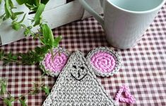 Mouse in house! Crochet Mouse Coasters set of 4 by MonikaDesign on Etsy