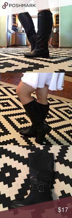 Black Mid-Calf Boots These black boots will be great for fall. Stylish and comfortable, they are stretchy so girls with large or small calves will be comfortable. Shoes Combat & Moto Boots