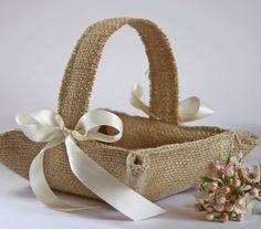 Little burlap flower girl basket. Khaki / by BurlapPewCones